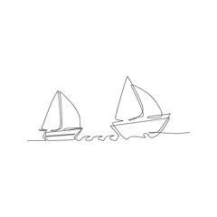 continuous line drawing of sailboat yacht. isolated sketch drawing of sailboat yacht line concept. outline thin stroke vector illustration