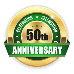 Gold 50th anniversary badge with green ribbon on white background