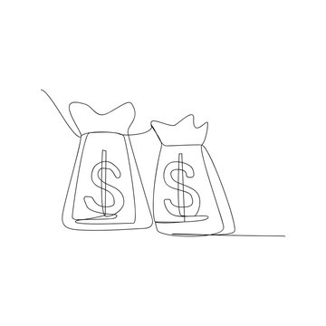 continuous line drawing of dollar money bag. isolated sketch drawing of dollar money bag line concept. outline thin stroke vector illustration