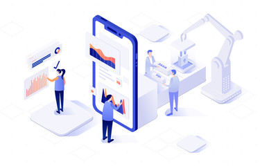 Vector isometric illustration of an front-end and back-end