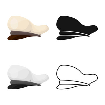 Vector illustration of cap and marine icon. Set of cap and captain stock vector illustration.