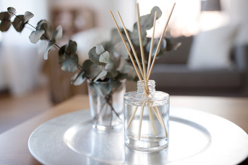 Obraz decoration, hygge and aromatherapy concept - aroma reed diffuser and branches of eucalyptus populus on table at home - fototapety do salonu
