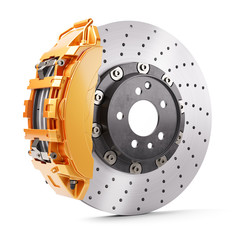 Automobile brakes. Orange caliper and brake disk. 3d render
