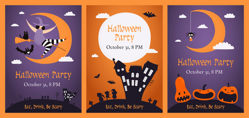 Set of Halloween party invitations with pumpkins, flying witch, haunted house, moon, kids in costumes, text. Hand drawn vector illustration. Design concept for banner, holiday background. Flat style.