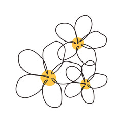 Continuous line drawing of Plumeria flower one hand drawn minimalism. Simplicity beauty element for poster and design.