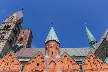 Fototapete - Roof and towers of the cathedral in Ribe, Denmark