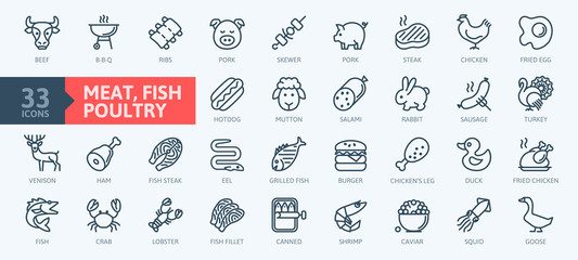 Meat, poultry, fish and eggs - minimal thin line web icon set. Outline icons collection.Simple vector illustration. Wall mural