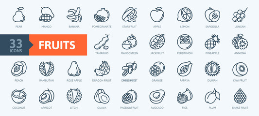 Estores personalizados com sua foto Fruits, exotic fruits, vegetarian - minimal thin line web icon set. Included the simple vector icons as mango, durian, rambutan, guava, tamarind, jackfruit. Outline icons collection.