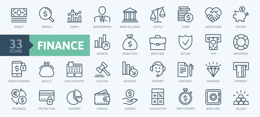 Money, finance, payments elements - minimal thin line web icon set. Outline icons collection. Simple vector illustration. - fototapety na wymiar