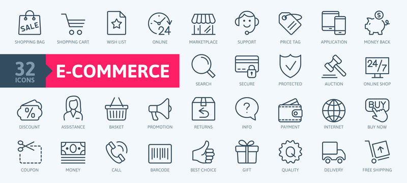 E-commerce, online shopping and delivery elements - minimal thin line web icon set. Outline icons collection. Simple vector illustration.