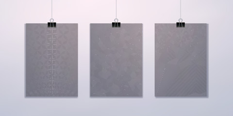 Set of vector blanks, abstract backgrounds, patterns of thin lines.