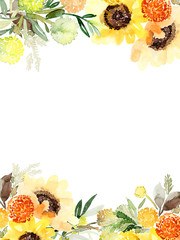 Watercolor card with yellow sunflowers. Autumn gentle composition