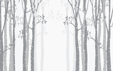 Fototapeten Birch Tree with deer and birds Silhouette Background