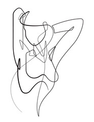Foto op Plexiglas One Line Art Woman Stretching Her Arms Back One Continuous Line Cartoon Vector Graphic Illustration