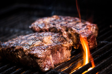 Aluminium Prints Steakhouse Barbecue ancho steak. Ancho steak on the barbecue.