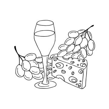 Glass of vine, cheese and grape. Hand drawn coloring page. Hand drawn vector illustration.