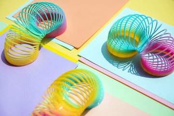 Close up of colorful slinky toys