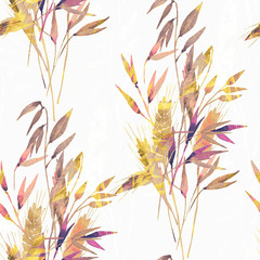 Watercolor wheat ears seamless pattern.Image of ears of wheat on a white and colored background.