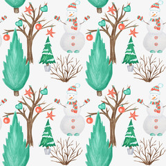Seamless pattern New Year Christmas tree and Snowman on white background. Watercolor Winter nature illustration. Hand drawn vintage card, fabric paper texture design.