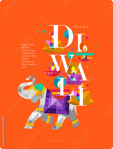 Happy Diwali Indian Festival Of Lights Vector Abstract