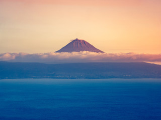 Image of the volcano mountain of pico in beautiful sunset colors