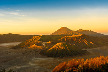 The bromo volcano on java in indonesia during the sunrise.