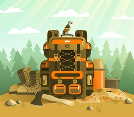 Camping backpack and tourist stuff - concept on the forest background. Tourist backpack in detailed flat style. Vector illustration.