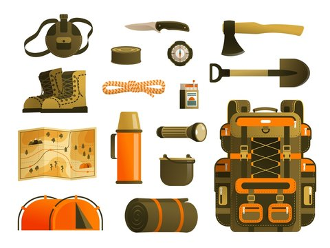 Camping backpack and tourist's survival kit. Tourist back pack items - a set of vector icons.