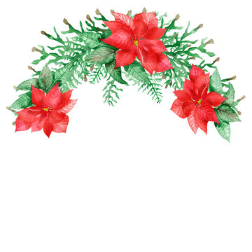 Watercolor hand painted nature christmas half wreath bouquet with red beautiful flower poinsettia and green leaves and branches for invitations and greeting cards with the space for text