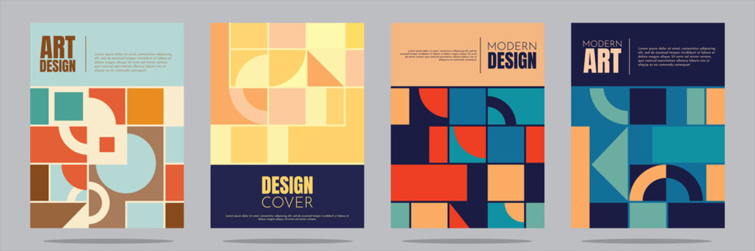 Vector illustration. Minimalistic geometric background in retro concept. A4 cover set. Squares, circles, semicircles, lines. Elements of graphic design. Simple geometric shapes. Flat style