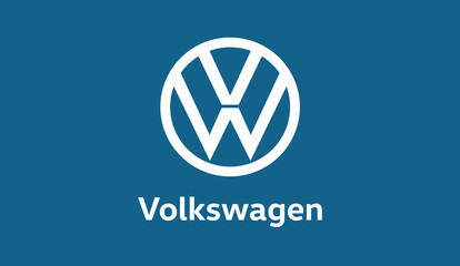 Aachen, Germany - 05.September 2019: New Volkswagen VW Brand design study Logo. New VW Logo stands for a younger appearance, focused on being the future leader in electro mobility.