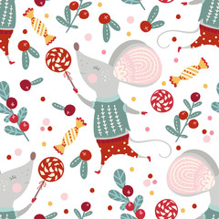 Seamless vector pattern with cute cartoon mouse in scandinavian style. Flat rat ornate illustration for New Year 2020.