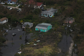 An aerial view shows the damage left in the wake of Hurricane Dorian in Freeport