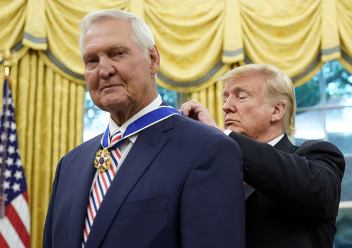 U.S. President Trump awards Presidential Medal of Freedom to NBA Hall of Famer Jerry West at the White House in Washington