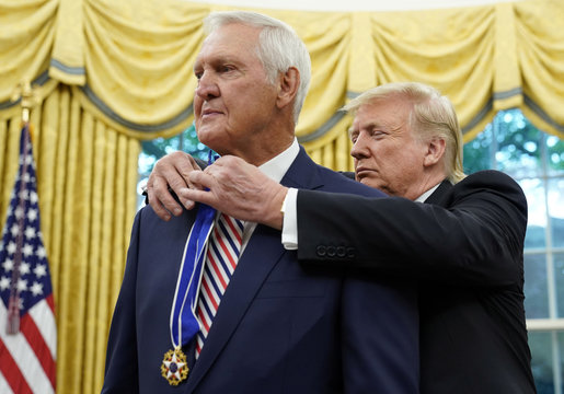 U.S. President Trump presents Presidential Medal of Freedom to NBA Hall of Famer West at the White House in Washington