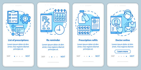 Prescription list and online pharmacy onboarding mobile app page screen with linear concepts. Rx refills. Four walkthrough steps graphic instructions. UX, UI, GUI vector template with illustrations