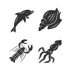 Ocean animals glyph icons set. Dolphin, squid, lobster, triton. Underwater world inhabitants. Swimming fish. Sea fauna. Seafood restaurant menu. Silhouette symbols. Vector isolated illustration