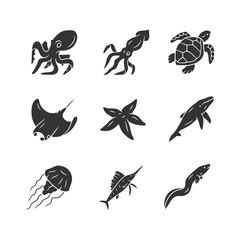 Sea animals glyph icons set. Swimming octopus, starfish, jellyfish. Marine aquarium. Whale, skate, turtle. Underwater inhabitants. Floating fish. Silhouette symbols. Vector isolated illustration