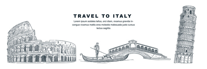 Travel to Italy hand drawn design elements. Vector sketch illustration of Colosseum, Tower of Pisa, Rialto Bridge. Fototapete
