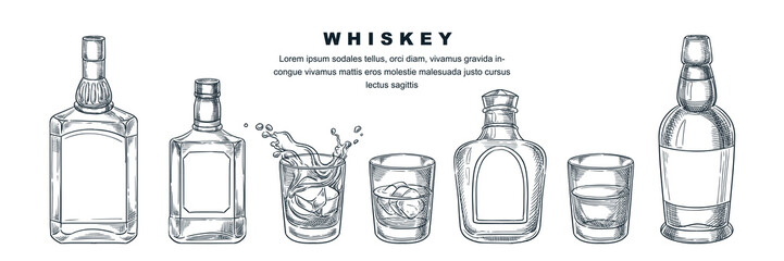 Whiskey bottles and glass, vector sketch illustration. Scotch, brandy or liquor alcohol drinks. Bar menu design elements