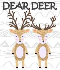 Cute cartoon deer in scandinavian style. Childish print for nursery, kids apparel,poster