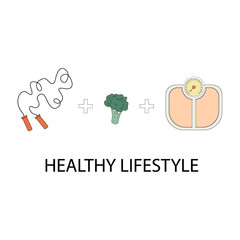 Colored flat icons vector illustration on healthy lifestyle theme. Infographics on healthy eating and active lifestyle. Coloring icons on the theme of HLS