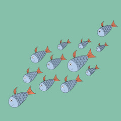 A flock of fish swimming in the sea. Vector illustration of underwater fish for printing on textiles, clothes, things, children's books. Design style with marine theme.