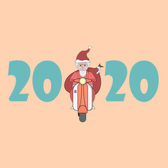 Santa Claus rides a retro scooter with a bag of gifts behind his back. Christmas greeting card. New year 2020. Santa drives the transport.