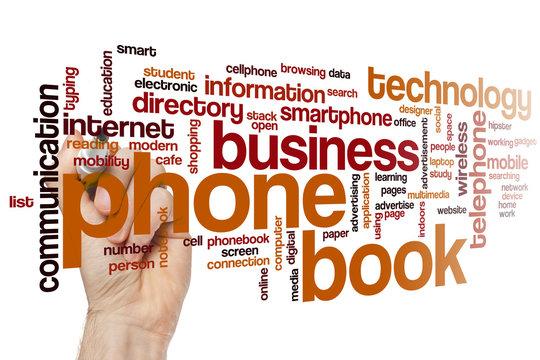 Phone book word cloud