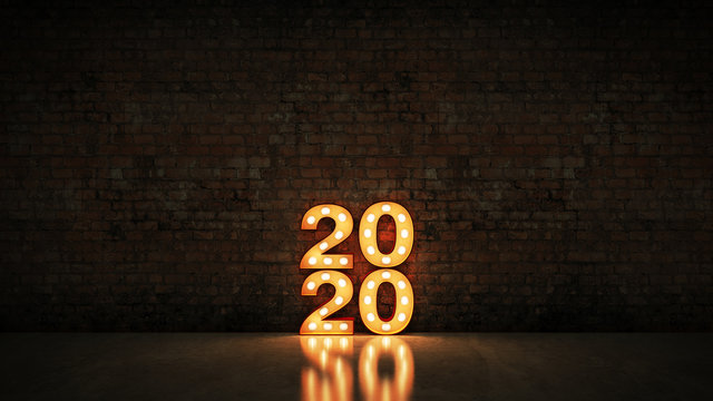 marquee light 2020 letter sign, New Year 2020. 3d rendering