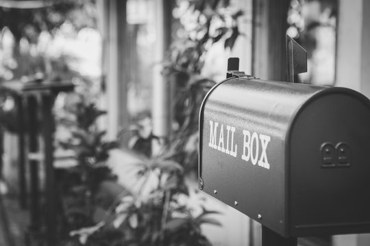 Black and white of mailbox in front of the house with sunlight