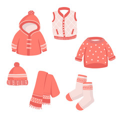 Set of winter clothes and accessories.