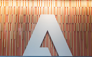 General view of Adobe Logo on wall in of Adobe office building in Seattle, Washington on September 5, 2019
