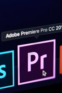 Adobe premiere pro icon on screen